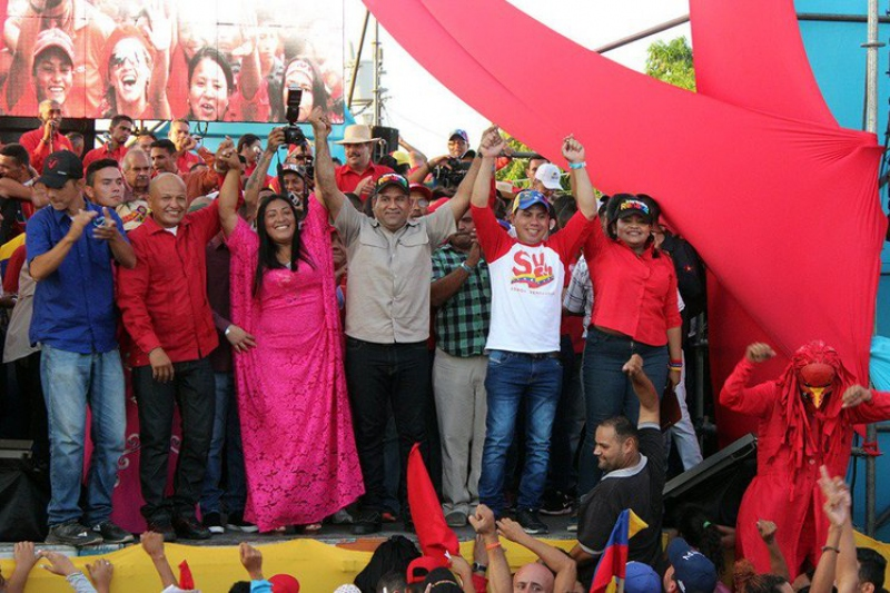 PSUV leaders in Maracaibo celebrated after a successful electoral victory